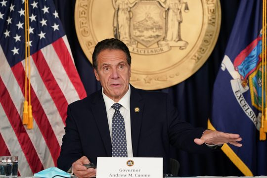 Gov. Andrew Cuomo speaks about New York's response to Covid-19 at a press briefing Sunday in Albany. (State Office of the Governor)