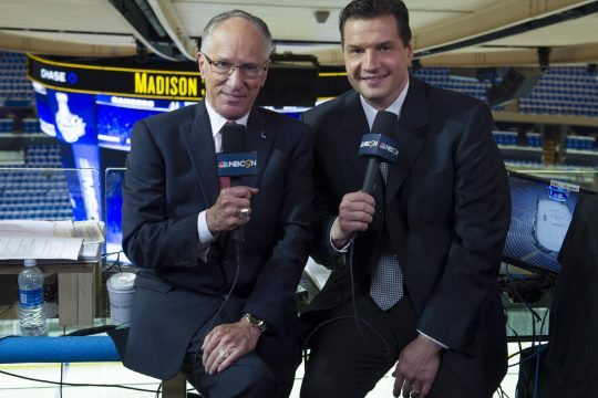 NBC Sports photoMike Emrick, left, who is joined by analyst Eddie Olczyk, announced his retirement Monday from calling play-by-play for NBC Sports' NHL coverage. Emrick spent the last 16 years of his 50-year career in hockey with NBC as its lead NHL announcer.