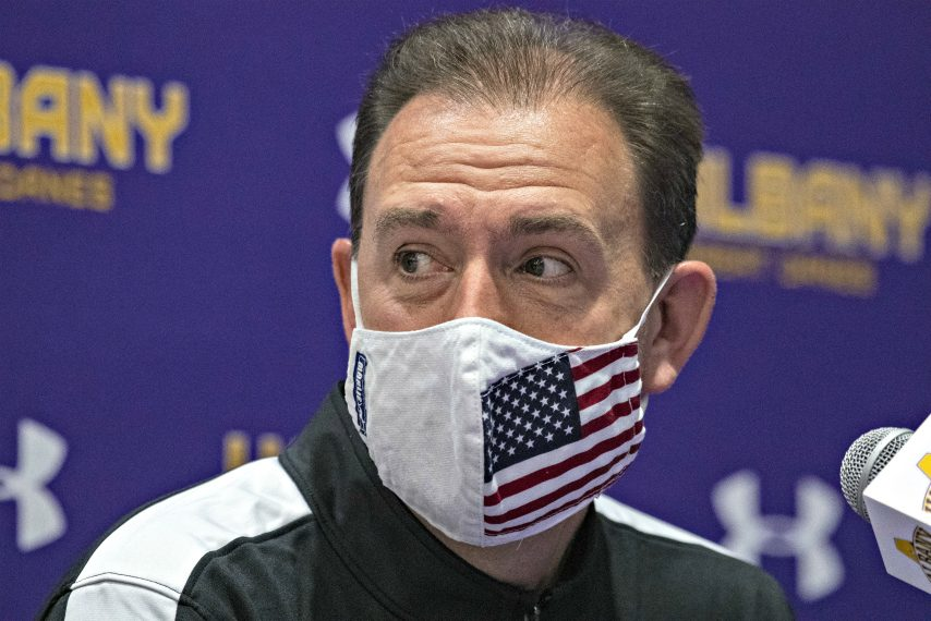 UAlbany men's basketball head coach Will Brown is shown last week. (Peter R. Barber)(