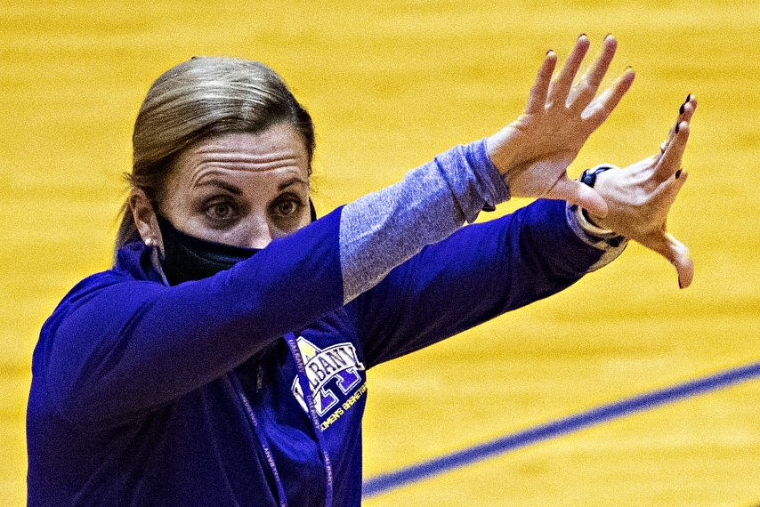 UAlbany women's basketball head coach Colleen Mullen is shown at a recent practice. (Peter R. Barber)