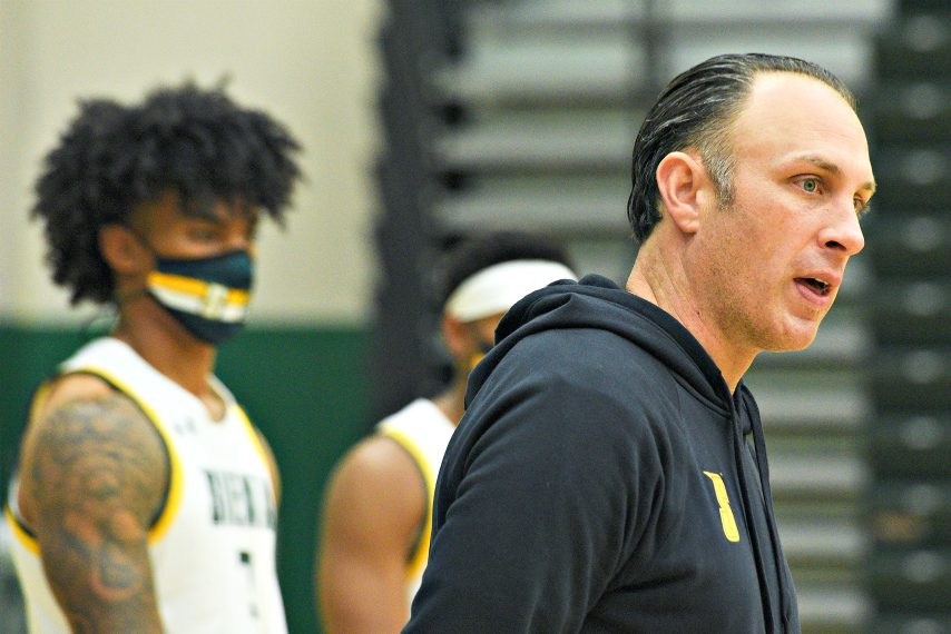 Siena men's basketball head coach Carmen Maciariello is shown at Tuesday's media-day event in Loudonville. (Erica Miller)