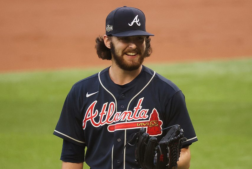 KEVIN JAIRAJ/USA TODAYSPORTSAtlanta Braves starting pitcher Ian Anderson is all smiles as he walks off the mound after the first inning of the NLCS Game 7 in Arlington, Texas, on Sunday.