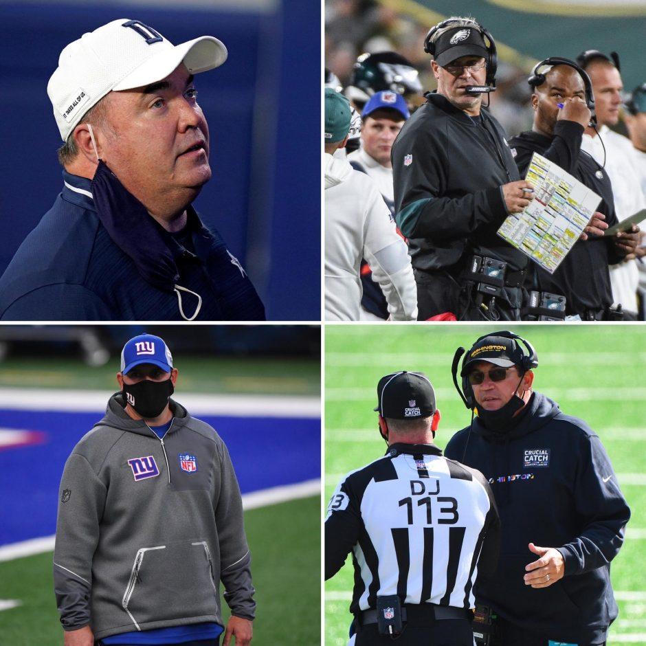 USA Today Sports photosClockwise, Dallas Cowboys coach Mike McCarthy, Philadelphia Eagles coach Doug Peterson, Washington Football Team coach Ron Rivera and New York Giants coach Joe Judge.