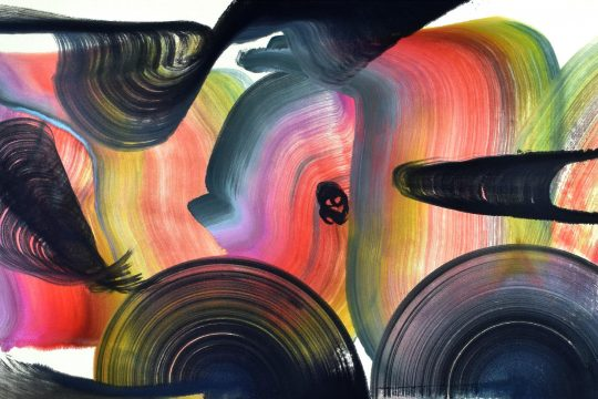 """The Myth of Zhuangzi,"" Yeachin Tsai, 2019, acrylic on canvas, 30"" x 56."" (Courtesy Albany Center Gallery)"
