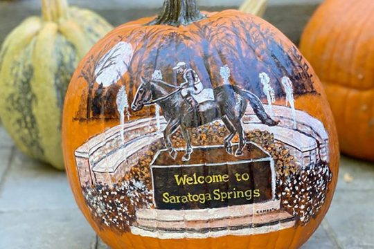 A pumpkin painted by Cathi Anne M. Cameron for this year's Great Saratoga Pumpkin Hunt. (photo provided)