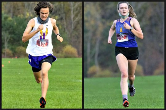 Johnstown's Trey Naselli, left, and Amsterdam's Brook Marshall won their respective races Wednesday. (Peter R. Barber)