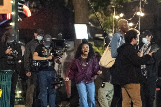 Filming for the scene of an Amazon Prime series 'Modern Love' on the Jay Street Walkway Wednesday.