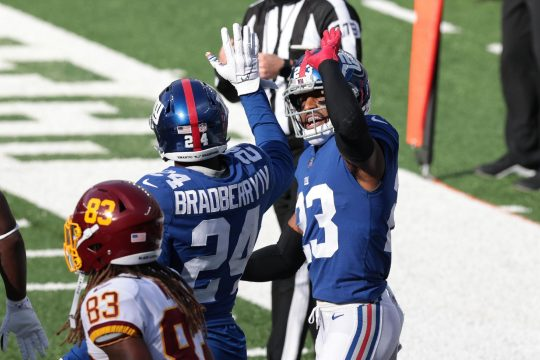 Vincent Carchietta/USA TODAY SportsNew York Giants cornerbacks Logan Ryan, right, James Bradberry celebrate after a defensive stop in front of Washington Football Team wide receiver Isaiah Wright during last Sunday's game at MetLife Stadium.