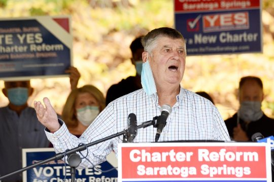 ERICA MILLER/STAFF PHOTOGRAPHER Former Saratoga Springscommissioner of public works Tom McTygue speaks during a press conference held by Common Sense Saratoga in support of charter reform. The event was held at High Rock Avenue Park on Thursday.