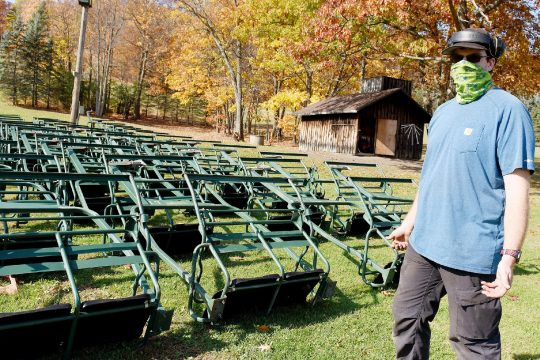 ERICA MILLER/STAFF PHOTOGRAPHER Maple Ski Ridge Operations Manager Alex Kaczor on Friday shows the ski lift chairs that are ready for annual inspection before skiing operations begin in Rotterdam.