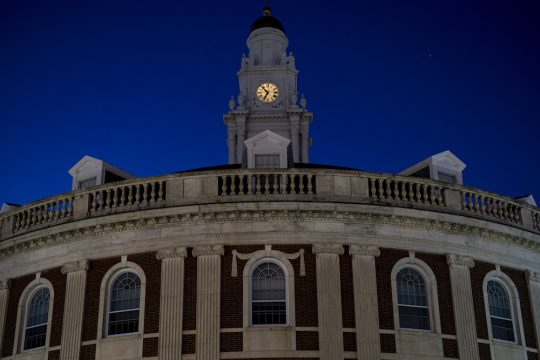 The Schenectady City Hall spire at dusk Saturday, October 17, 2020.
