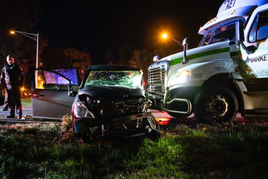 Niskayuna Police are investigating a collision between a car and tractor trailer truck at Route 7 and Union Street in Niskayuna Friday, October 23, 2020.