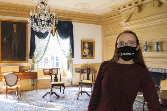 Jessica Serifilippi pauses for a photo inside the Schuyler Mansion in Albany Friday. Credit: PETER R. BARBER/STAFF PHOTOGRAPHER