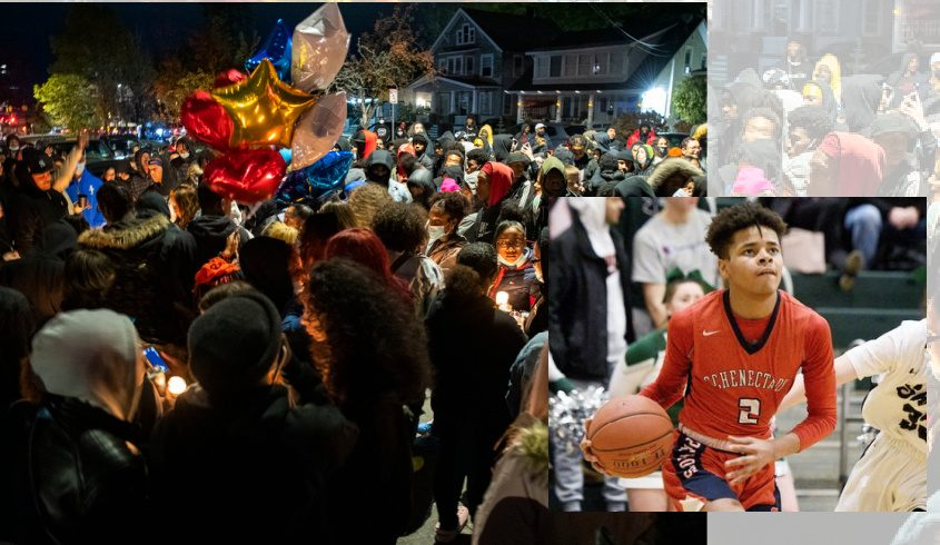 Hundreds paying tribute to Naylon Carrington Saturday night in Schenectady. Inset: Schenectady's Naylon Carrington with the ball in February. Credit: Peter R. Barber (background); Erica Miller (inset)