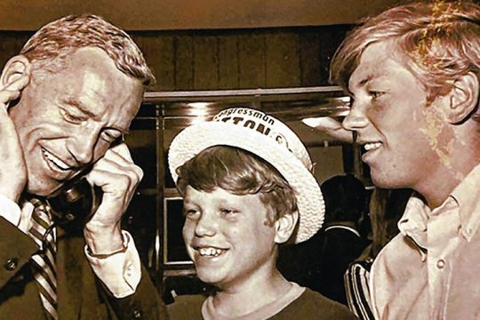 U.S. Rep. Sam Stratton reacts to a congratulatory phone call on Tuesday night, Nov. 3, 1970, as his sons Brian, 13, and Kevin, 17, look on. Credit: Provided