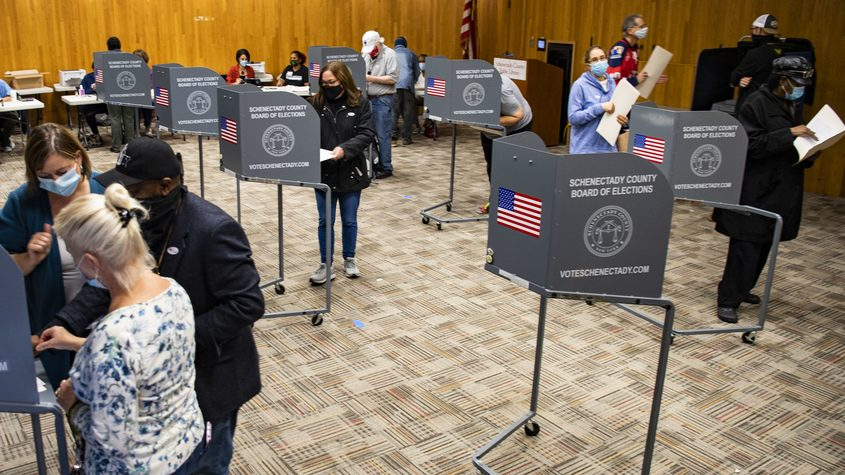 Voters fill nearly every voting stall at the Schenectady County Downtown Public Library Saturday
