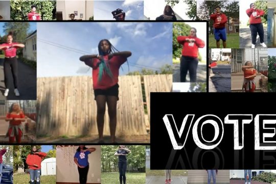 "Scenes from the ""Step to Vote"" video featuring more than 30 Schenectady High School students. (provided)"