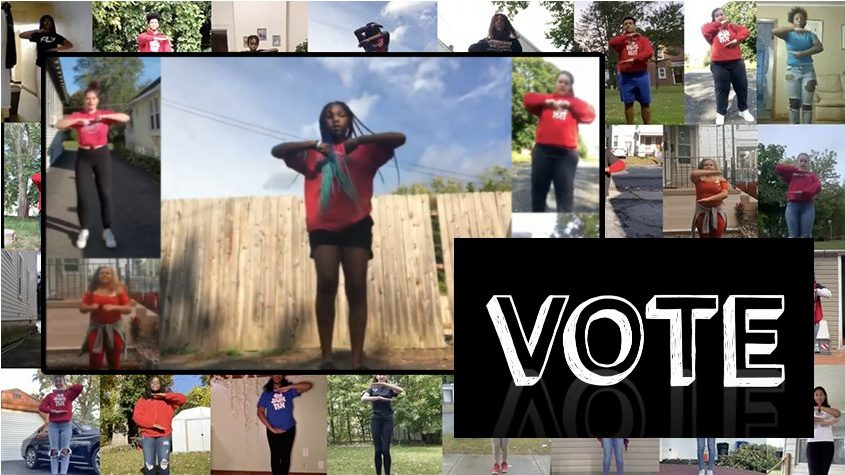 """Scenes from the """"Step to Vote"""" video featuring more than 30 Schenectady High School students. (provided)"""