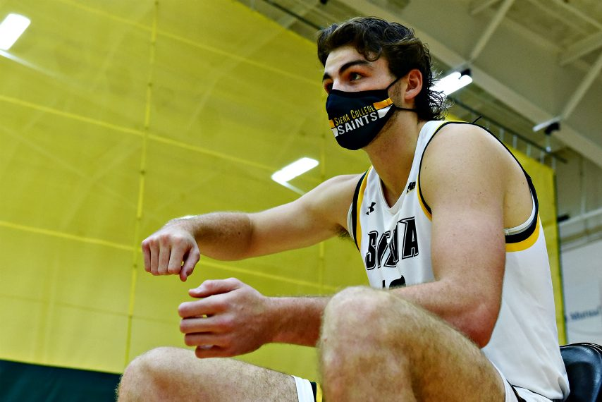Kyle Young is shown at last week's Siena men's basketball media day. (Erica Miller)