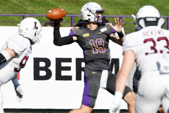 UAlbany quarterback Jeff Undercuffler passes the ball against Lafayette during their football game at Tom & Mary Casey Stadium in Albany on Sept. 21, 2019. (Erica Miller/Staff Photographer)