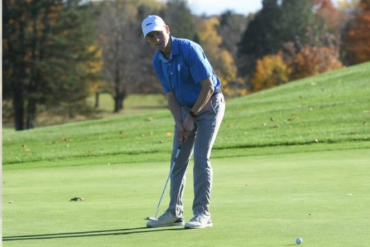 STAN HUDY/STAFF WRITERSaratoga Springs senior putts on the final hole of the Suburban Council tournament at Van Patten Golf Course Saturday, finishing with a 9-under par 63.