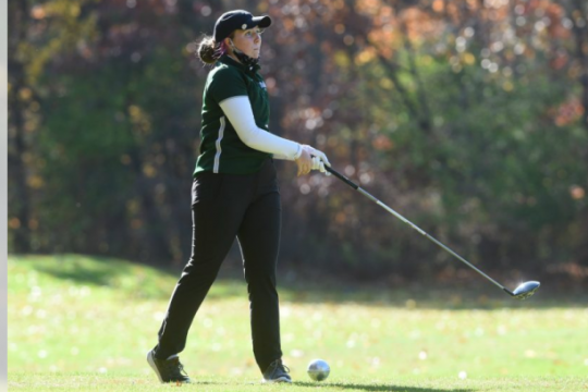 STAN HUDY/STAFF WRITERShenendehowa senior Charlee Kennedy watches her tee shot on the final hole of Saturday's Suburban Council girls golf tournament at Van Patten Golf Course.