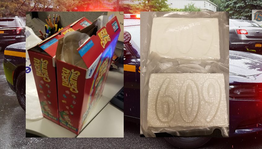 The cereal boxes and what state police said was inside the boxes (insets). Credits: New York State Police (insets); File (Background)
