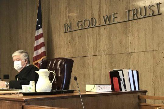 Pete DeMola/Staff WriterState Supreme Court Judge Mark Powersreads a prepared statement in court Tuesday.