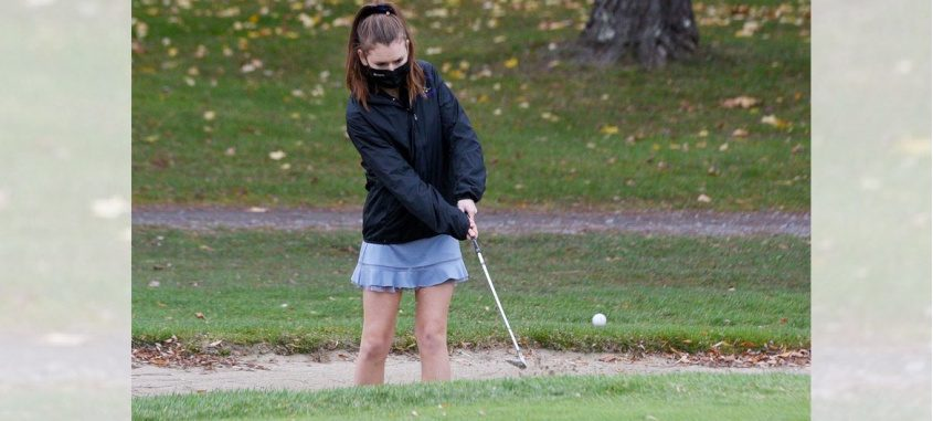ERICA MILLER/STAFF PHOTOGRAPHER Saratoga Central Catholic junior Isabelle Sondhof takes a shot during a match against Albany Academy at Colonie Golf and Country Club in Voorheesville on Tuesday.