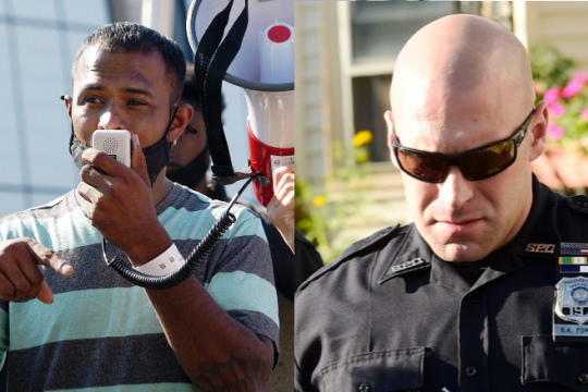 Erica Miller and Peter Barber/Staff PhotographersYugeshwar Gaindarpersaud is pictured in left photo; Officer Brian Pommer is pictured in 2018 in right photo.