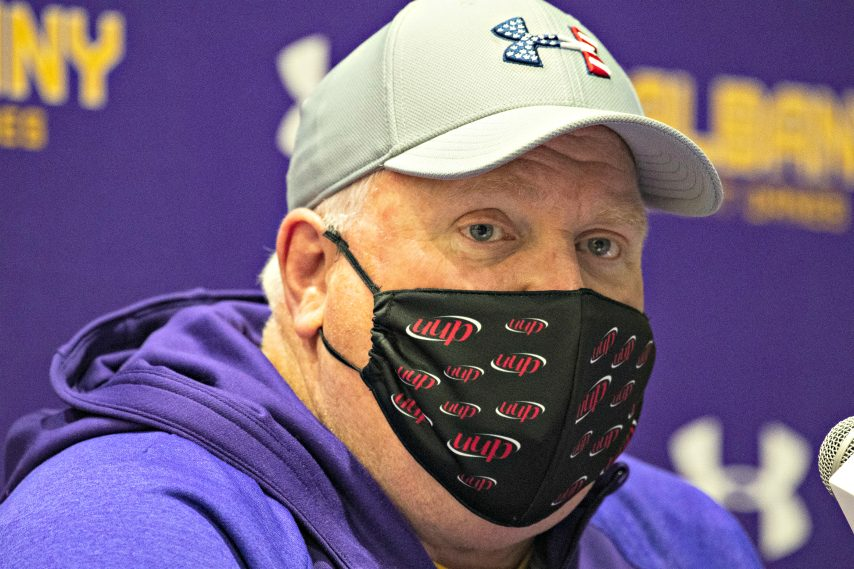 UAlbany football head coach Greg Gattuso is shown at a recent media availability. (Peter R. Barber)
