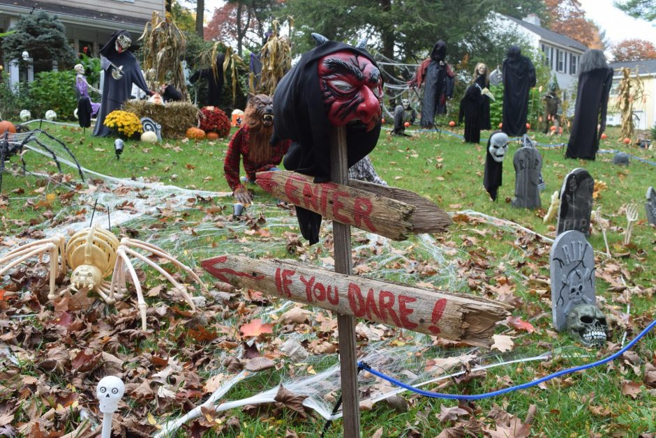 Witches, wolves, skeletons, spiders and more decorate the front yard of Susan Barczak's home on Antonia Drive in Niskayuna for Halloween. (Indiana Nash/Staff Writer)