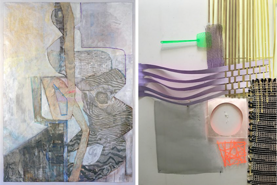 "Left: Yura Adams, ""Birth of a Heartbeat and I Don't Know Why,"" 2020, acrylic and ink on tyvek, 84 x 60 inches. Courtesy the artist. Right: Joan Grubin, ""Wall Installation Studio Detail."""