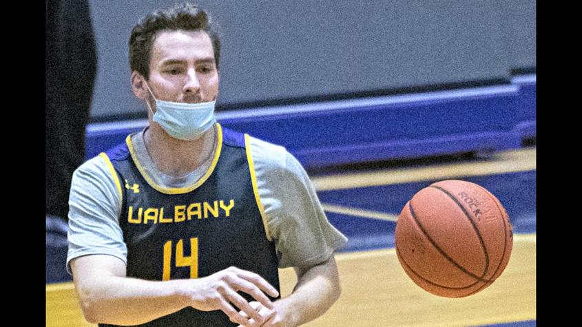 Adam Lulka is shown during Wednesday's UAlbany men's basketball practice. (Peter R. Barber)