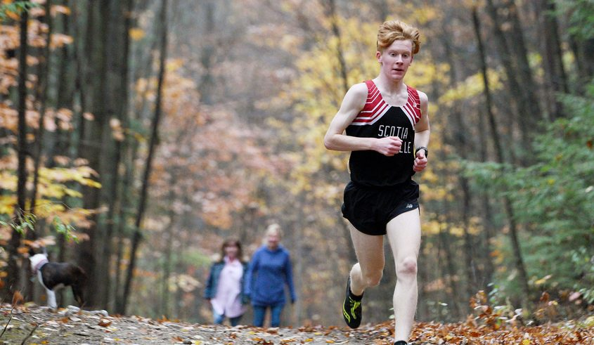 Scotia-Glenville's senior Noah Greski during their cross country meet against Johnstown at Indian Meadows Park in Glenville Wednesday