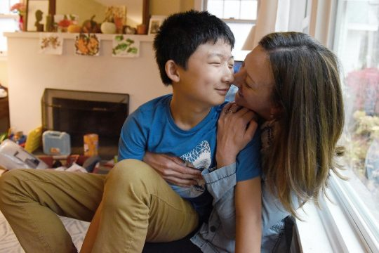 ERICA MILLER/STAFF PHOTOGRAPHER Barb Graberhugs her son Edward, 11, a student at Iroquois School, inside their home in Niskayuna on Thursday. Graber is helping to form a SEPTA group -- Special Education Parent Teacher Association. They're holding a virtual meeting Monday evening.