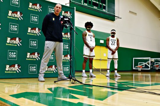 From left, Carmen Maciariello, Manny Camper and Jalen Pickett are shown at Siena's media-day event earlier this month.
