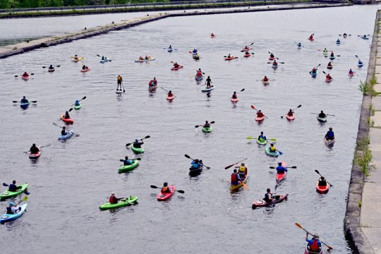 GAZETTE FILE PHOTOPaddlers fan out across the Erie Canal in Waterford during a June 2019 event.