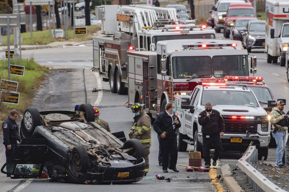 The driver of this over turned car was taken by ambulance to Albany Medical Center after losing control on the east bound State Street exit ramp from the Crosstown Connection in Schenectady Friday, October 30, 2020.
