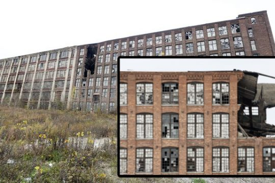 The derelict brick and wood section of the old Mohawk Carpet Mill complex, located on Elk Street in Amsterdam, is shown on Friday. Credit:ERICA MILLER/STAFF PHOTOGRAPHER