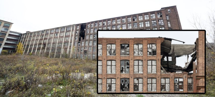The derelict brick and wood section of the old Mohawk Carpet Mill complex, located on Elk Street in Amsterdam, is shown on Friday. Credit: ERICA MILLER/STAFF PHOTOGRAPHER