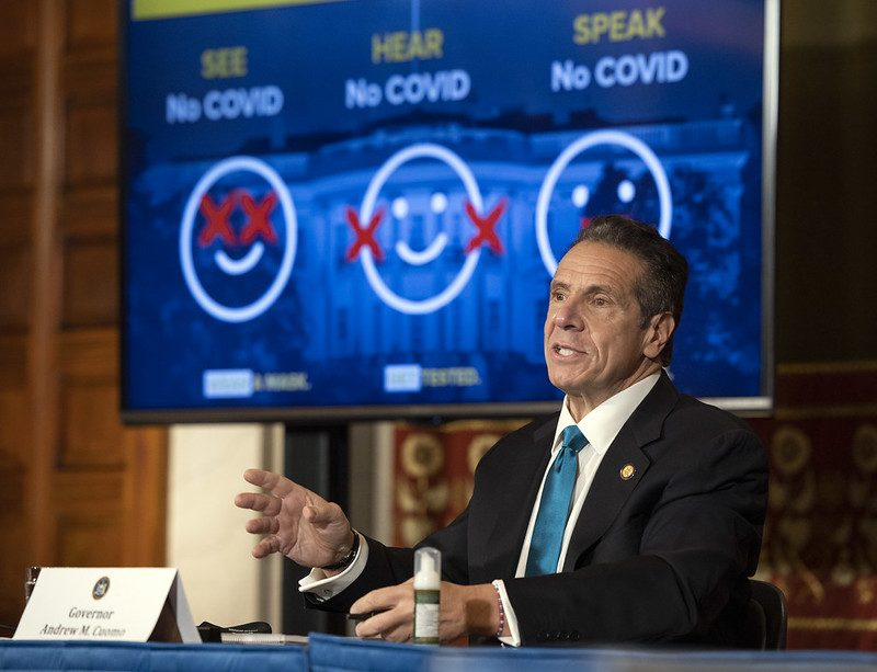 Governor's OfficeGov. Andrew Cuomo holds a COVID-19 briefing on Oct. 26.