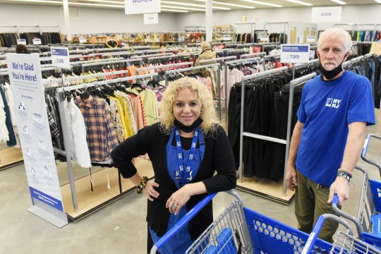 Goodwill store in Guilderland's Assistant Manager Crystal Reedy and Store Manager Jim Jablonowski inside their newly opened store off Western Ave in Guilderland Thursday. Credit:ERICA MILLER/STAFF PHOTOGRAPHER