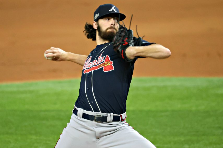 Atlanta Braves starting pitcher Ian Anderson (48) pitches against the Los Angeles Dodgers in the first inning during game seven of the 2020 NLCS at Globe Life Field.Kevin Jairaj-USA TODAY Sports