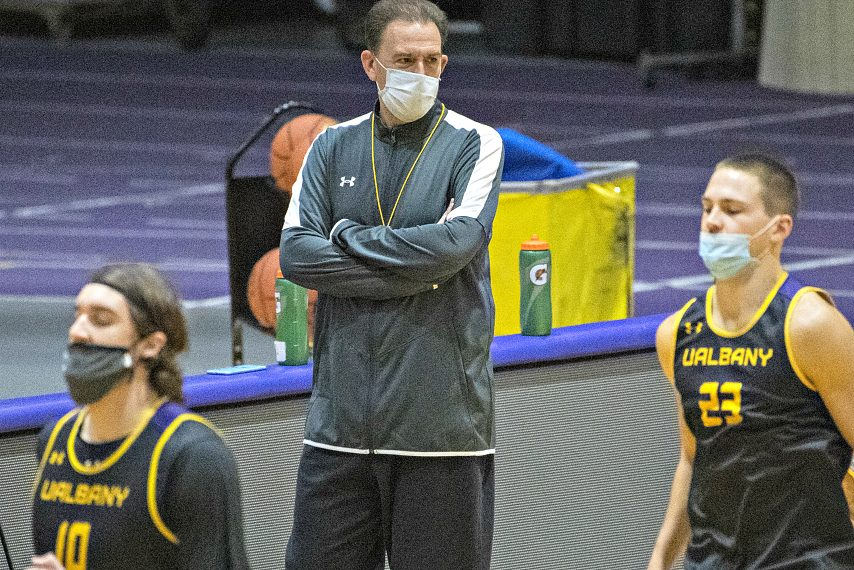 UAlbany women's basketball head coach Colleen Mullen is shown at a recent practice. (Gazette file photo)
