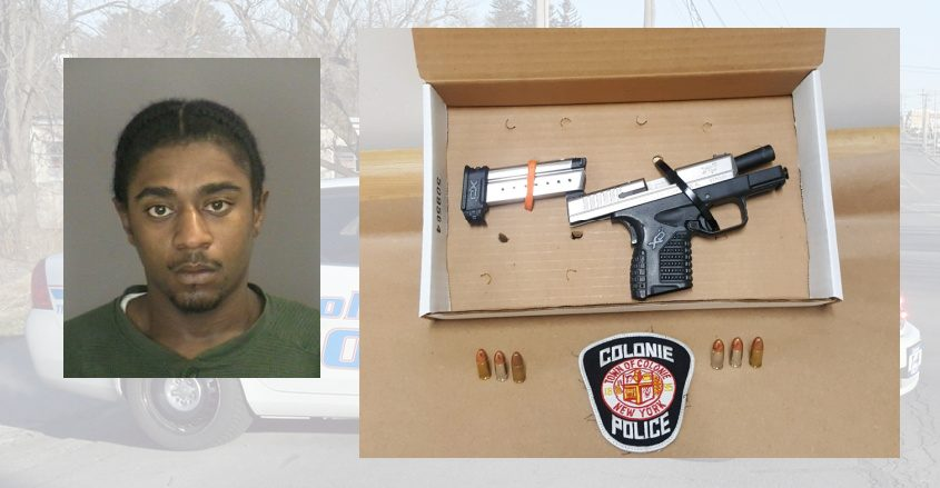 Wayne Samuels and the gun he is accused of possessing. Credit: Colonie Police (insets); File (Background)