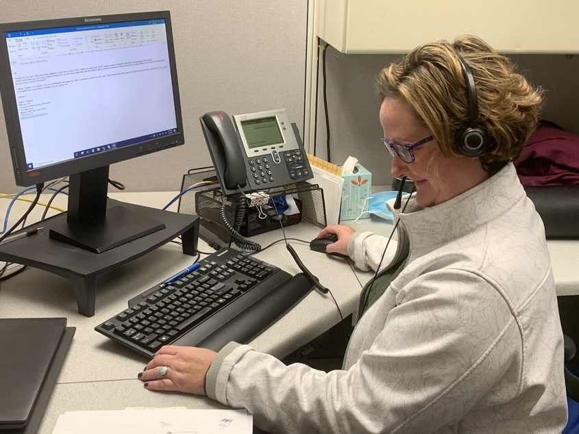 PHOTO PROVIDEDNational Grid consumer advocate Annie O'Connell works in her office in Schenectady on Tuesday, Nov. 3, 2020.