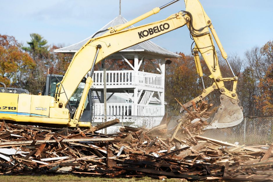 ERICA MILLER/STAFF PHOTOGRAPHER The Saratoga County Fairgrounds grandstand was in the process of being torn down in Ballston Spa on Tuesday.