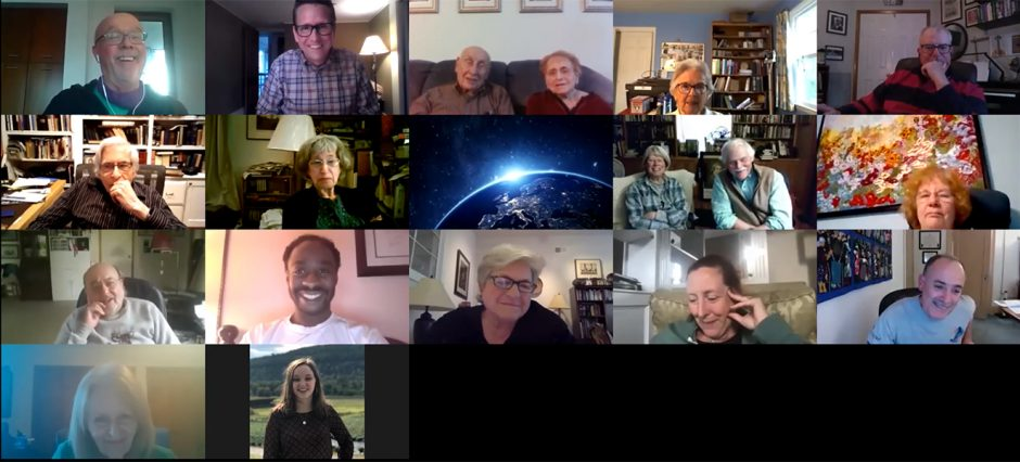 """Derek Delaney, top row second from left, leads a discussion on Zoom with listeners who tune in to his Monday evening """"Inside the Music"""" radio show on WMHT-FM. (photo provided)"""
