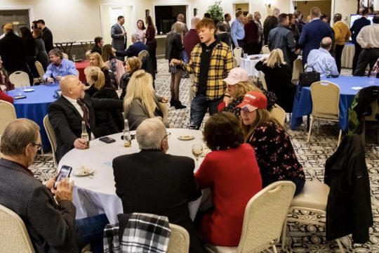 Our photo from congressional candidate Liz Joy's Election Night event clearly shows people gathered close together and not wearing masks, in violation of government guidance, basic public health practices, common sense and concern for public safety.